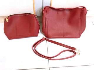 🚚 韓國紅色兩用背包