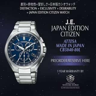 🚚 CITIZEN JAPAN EDITION ATTESA ECO DRIVE CHRONOGRAPH TITANIUM RADIO WAVE CB5040-80L MADE IN JAPAN