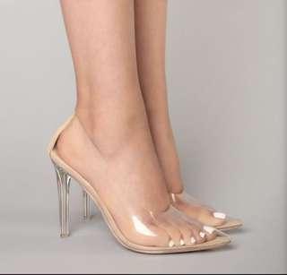 Fashion nova clear glass slipper size US7.5