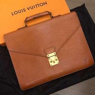 正品💯 Louis Vuitton Epi Brown Leather Portfolio Conseiller Briefcase 公事包 | LV hand bag 啡色手袋 金扣 #MILAN02