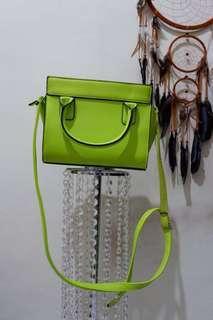 STRADIVARIUS sling bag neon green
