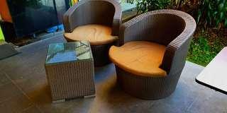 Balcony Brown Synthetic Rattan Sofa Set