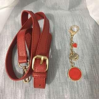 Strap tali kulit & bag charm charles keith