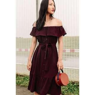 Fashmob Riley Off Shoulder Dress in Oxblood Maroon