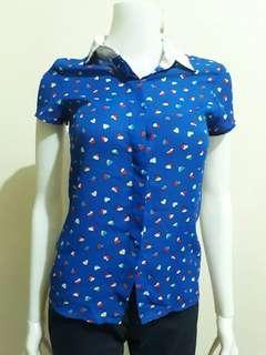 Love Bayo Blue Printed Button Down Blouse - XS