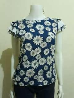 Ruffled Floral Top from Thailand Fits Small