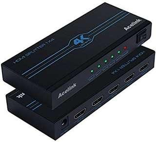 A229 - Acelink HDMI Splitter, 4K x 2K Powered 4 Way HDMI Splitter 1 input 4 output with ON/OFF Switch, Support HDMI 1.4, HDCP, 3D&1080P (1 Input 4 Output)