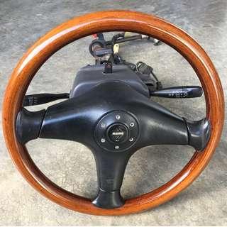 Steering Momo Wallnut Mira L5 for Kancil