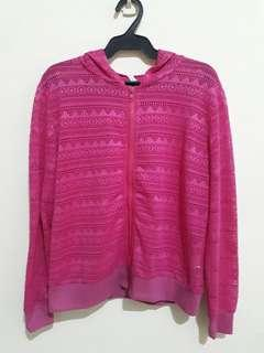 Pink Knitted/Crocheted Hoodie Free Size