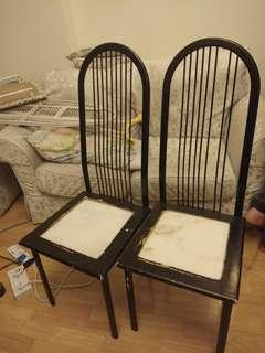 Antique Marble and Metal High-Back Chairs