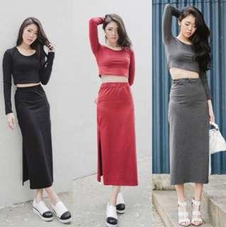 SET CROP MAXI SKIRT NEW