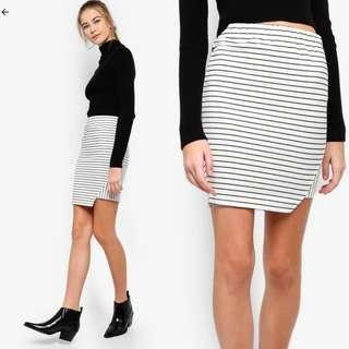 Something Borrowed Contrast Striped Bodycon Skirt