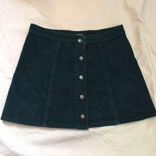 Corduroy Green Skater Skirt