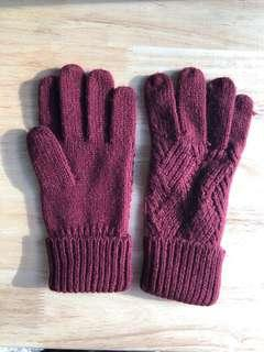 Red Knit Gloves