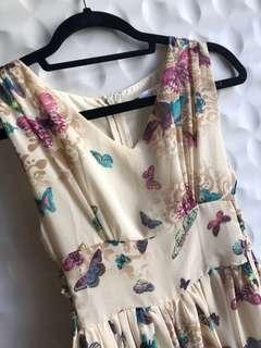 Yellow maxi sundress with flowers - small