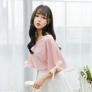 甜美蝴蝶結寬鬆上衣粉紅色