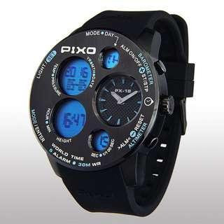 [BNIB] PIXO PX-18 MISSION Watch (Black-Blue)