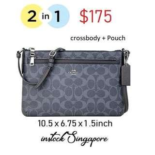 READY STOCK authentic new  Coach EAST/WEST CROSSBODY WITH POP-UP POUCH IN SIGNATURE CANVAS (COACH F29725) DENIM/MIDNIGHT/SILVER