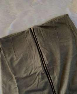 Zippered Army Green Skirt