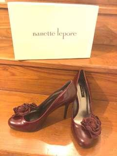 Nanette Lepore NEW Burgundy Red Leather Floral Pumps Size 8.5 US/39
