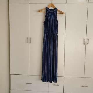 Long Halter Maxi Dress Blue Stripes