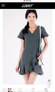 LOVET CAMILA RUFFLE DRESS (OLIVE)