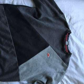 one of a kind nike grey crew neck jumper was really expensive and barely been worn  multi shade x red tick