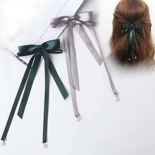 包郵 韓式蝴蝶結髮夾 絲帶珍珠髮飾 深綠色 銀灰色 #marchtosell
