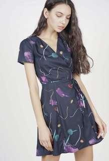 MDS tie wrapped dress in midnight brush