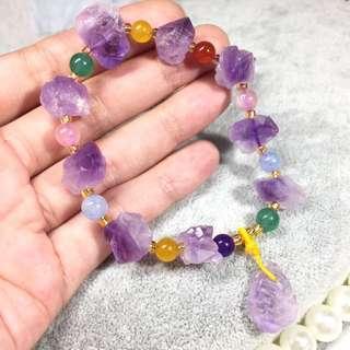 🚚 【原礦收藏】天然紫骨幹水晶五行手鍊。紫水晶骨幹原礦原石 單尖多峰搭配五行水晶 /智慧&能量的象徵。<PY21>ㄧ物ㄧ拍🔮