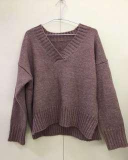 韓國🇰🇷芋紫色 藕紫色 薰衣草色 質感V領毛衣