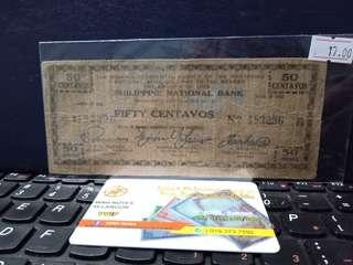 Duit Lama Filpina National Bank 50 Centavos 1942 🇵🇭 (Emergency Issue Note)