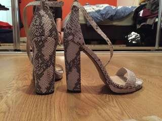 Windsor Smith new snake print leather block heels