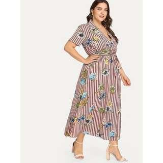 Stripe Plus Size Dress