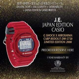 🚚 CASIO JAPAN EDITION G SHOCK X HIROSHIMA CARP REDOUT DW5750 LIMITED EDITION 2000PCS