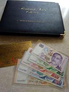 🚚 SINGAPORE 5 PCS $2 - $100 PORTRAIT IDENTICAL S/N 0AA009381 SET WITH 24K GOLD CERT AND ALBUM UNC