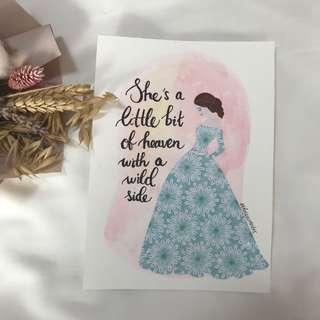 Girl illustration series customise quote/name