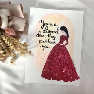 Girl illustration series customise photo frame