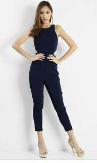 5e49c26b28f3 Delxie Contrast Jumpsuit In Navy