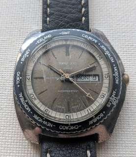 Vintage Sicura Topaz 200 World Timer Automatic Jumbo Size Watch
