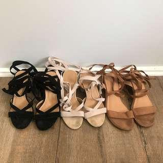 3 Pairs Sandals Boohoo Glasson strappy black taupe brown size 36-37 6 6.5