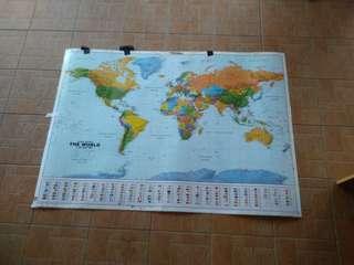 World Map 4 kaki x 3 Kaki