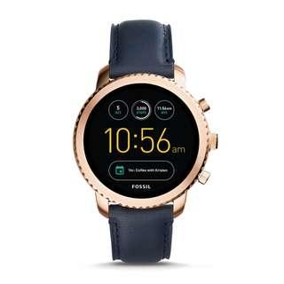 🚚 Fossil Q Men's Gen 3 Explorist Stainless Steel and Leather Smartwatch, Color: Rose Gold-Tone, Blue (Model: FTW4002)