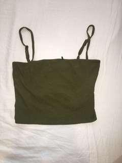 Khaki green half top - size small