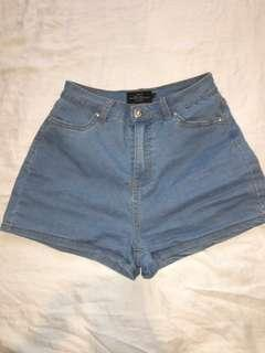 Blue stretchy denim shorts - size 10