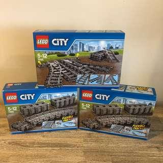 *3 sets* MISB Lego 7499 7895 City Flexible Tracks & Switching Tracks