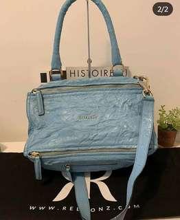 1eecb25063 100% Aithentic Givenchy Blue Wrinkled Pandora Medium Sheep Skin SC0104