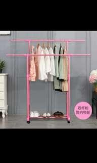 Pink double rod clothes rack double poles clothes drying rack