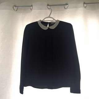 Mango Black Long Sleeved Blouse