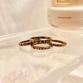 💍Copper/Dull gold rings - Set of 4